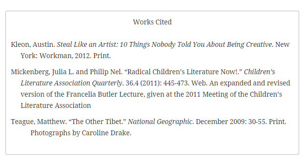 "A sample ""Works Cited"" section."