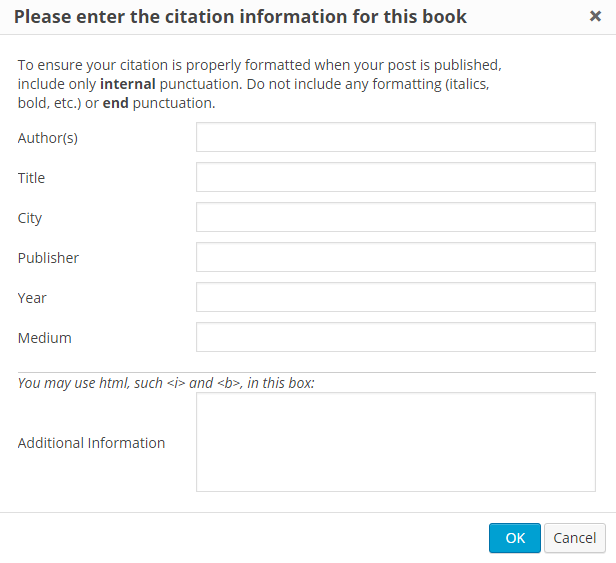 The citation pop-up for a book.