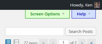 "More visible ""Screen Options"" and ""Help"" tabs."